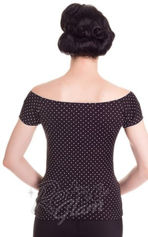 Hell Bunny Cilla Top in Black with White Dots