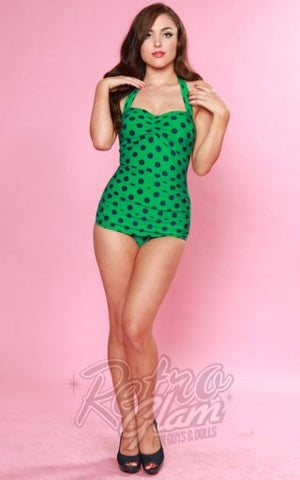 Esther Williams Classic Retro Sheath Swimsuit in Green & Navy Polka Dot