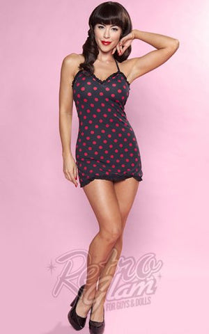 Bettie Page Halter Swimdress in Black and Red