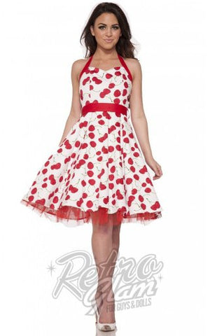 Hearts and Roses White Cherry Dress