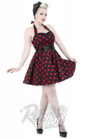 Hearts and Roses Minnie Dress in Red and Black