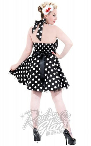 Hearts and Roses Minnie Dress in White and Black