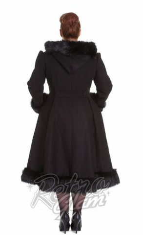 Hell Bunny Elvira Coat in Black Curvy back