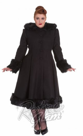 Hell Bunny Elvira Coat in Black Curvy