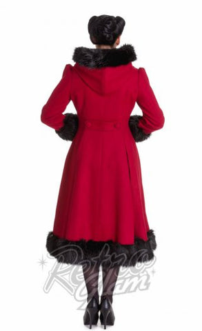 Hell Bunny Elvira Coat in Burgundy Back