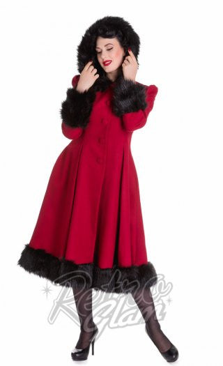 Hell Bunny Elvira Coat in Burgundy