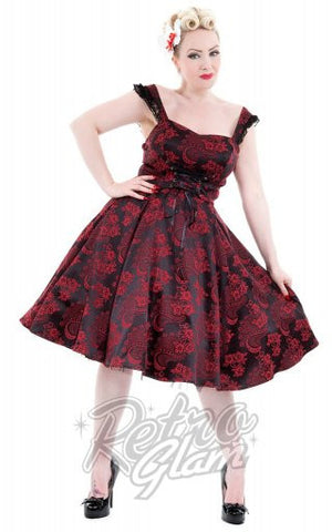 Hearts and Roses Brocade Amelia Dress in Red
