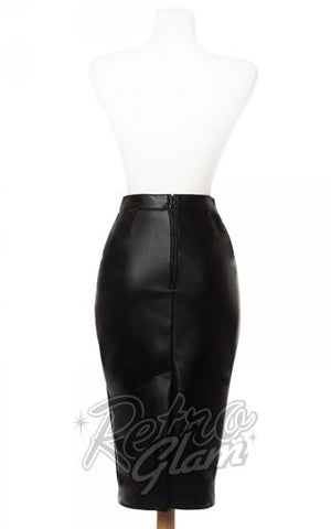 Deadly Dames Deadly Curves Skirt in Black Faux Leather