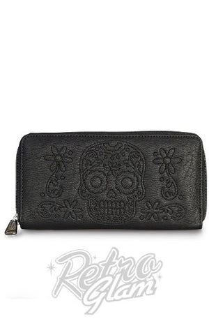 Loungefly Black Floral Skull Zip Wallet