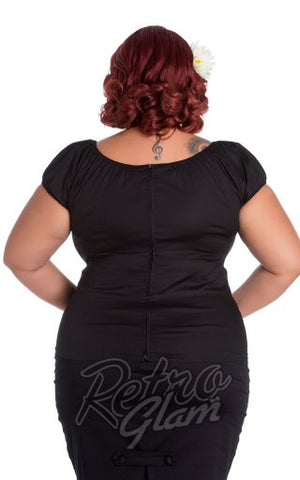 Hell Bunny Melissa Curvy Pinup Top in Black back