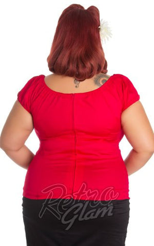 Hell Bunny Melissa Top in Red Curvy back