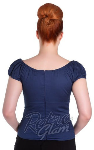 Hell Bunny Melissa Top in Navy back