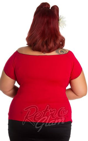 Hell Bunny Plus Size Pinup Bardot Top in Red back
