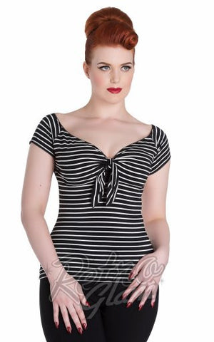 Hell Bunny Hannah Top in Black & Ivory