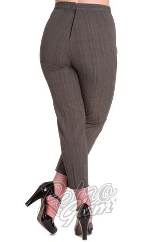 Hell Bunny Jean Cigarette Pants in Grey Plaid