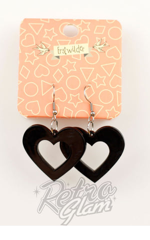Erstwilder Heart Ripple Resin Drop Earrings - Pick Red or Black