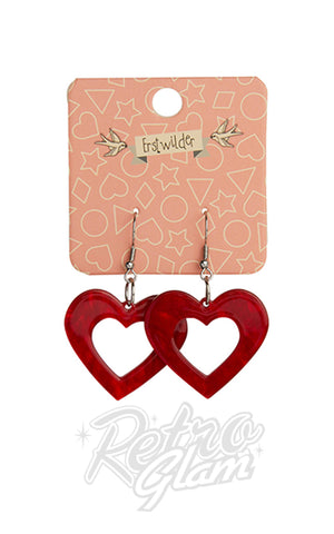 Erstwilder Heart Ripple Resin Drop Earrings in Red gift