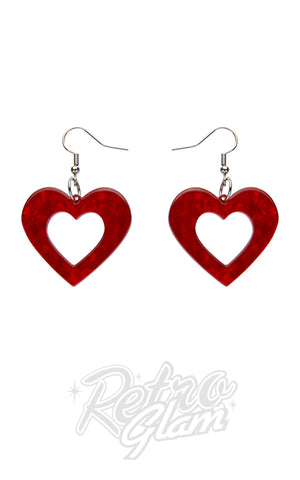 Erstwilder Heart Ripple Resin Drop Earrings in Red