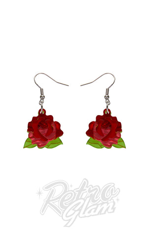 Erstwilder Juliet's Blooms Rose Drop earrings in Red