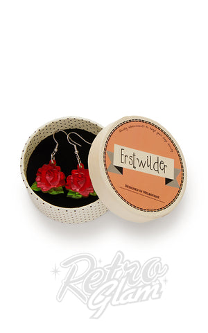 Erstwilder Juliet's Blooms Rose Drop earrings in Red box