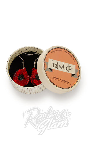 Erstwilder Poppy Field Drop Earrings in Red box