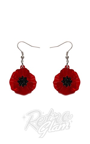 Erstwilder Poppy Field Drop Earrings in Red