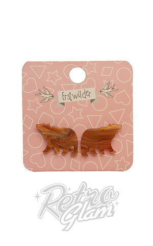 Erstwilder Essentials Bear Earrings Brown
