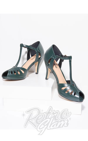 Unique Vintage Everly T-Strap Shoes in Forest Green