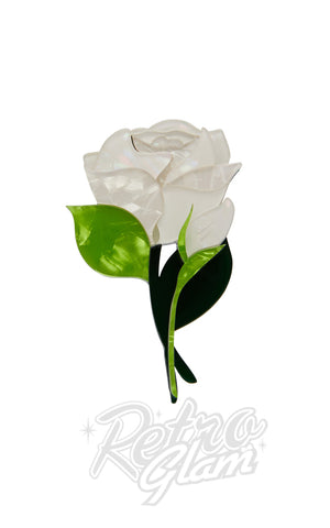 Erstwilder Budding Romance Rose brooch in White