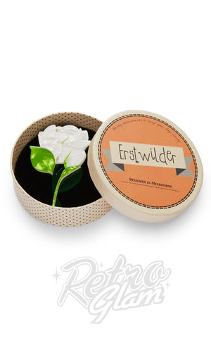Erstwilder Budding Romance Rose brooch in White box