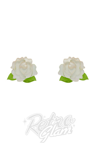 Erstwilder Juliet's Blooms Stud Earrings in White