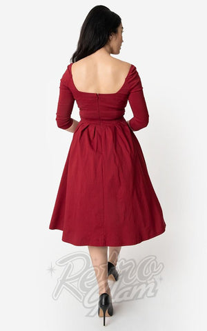 Unique Vintage Lamar Swing Dress in Deep Red back