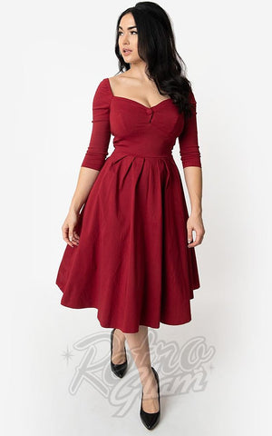 Unique Vintage Lamar Swing Dress in Deep Red