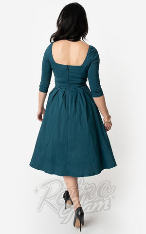 Unique Vintage Lamar Swing Dress in Dark Teal back