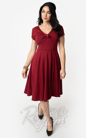 Unique Vintage 1940's Natalie Swing Dress in Burgundy