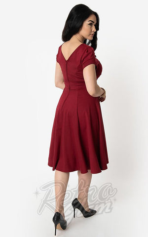 Unique Vintage 1940's Natalie Swing Dress in Burgundy back