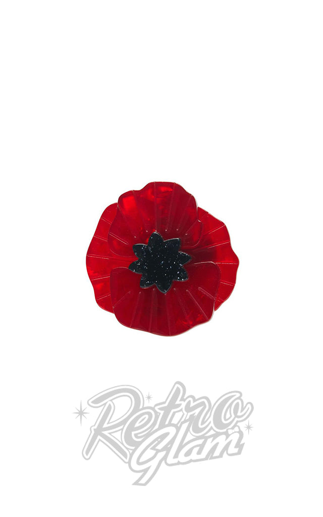 Erstwilder Poppy Field Mini Brooch in Red