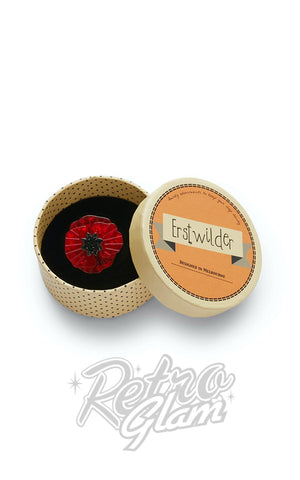 Erstwilder Poppy Field Mini Brooch in Red box