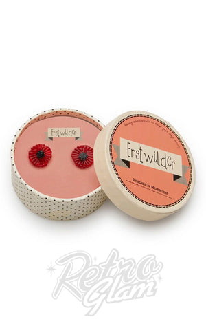 Erstwilder Poppy Field Stud Earrings in Red box
