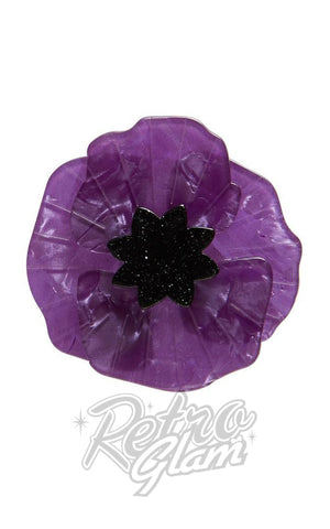 Erstwilder Poppy Field Brooch in Purple