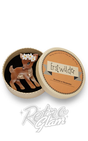 Erstwilder Buttercup fawn resin Brooch gift box