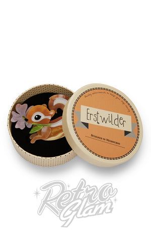 Erstwilder Chocolate the Chipmunk with flower resin Brooch gift box