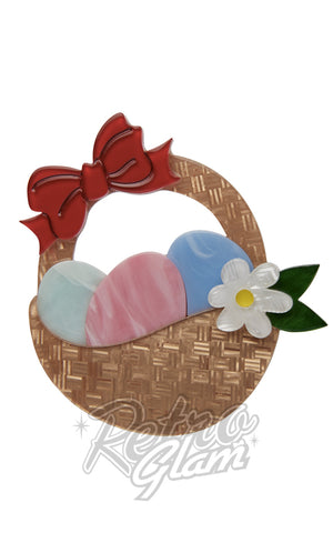 Erstwilder Egg Hunter's Hamper basket resin Brooch