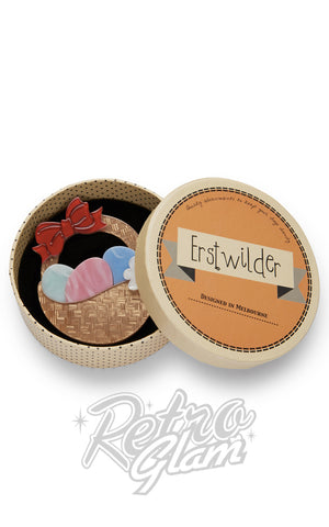 Erstwilder Egg Hunter's Hamper basket resin Brooch gift box