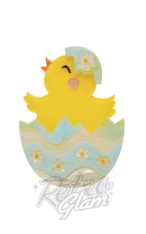 Erstwilder Happy Hatchling chick in easter egg resin Brooch