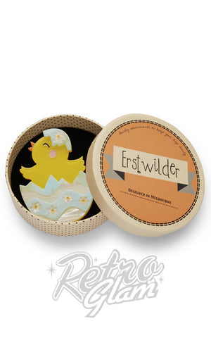 Erstwilder Happy Hatchling chick in easter egg resin Brooch gift box