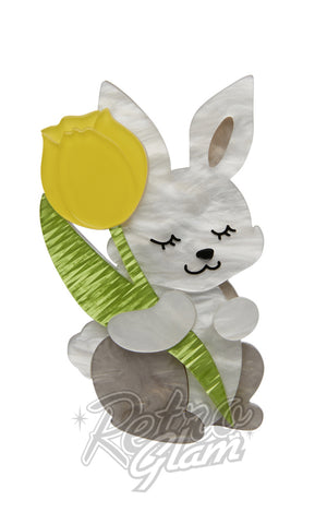 Erstwilder Junior bunny rabbit and His Tulip resin Brooch