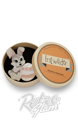 Erstwilder Kit bunny rabbit and Egg resin Brooch gift box