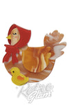 Erstwilder Proud Mother Hen with chick resin Brooch