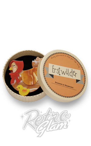 Erstwilder Proud Mother Hen with chick resin Brooch with gift box